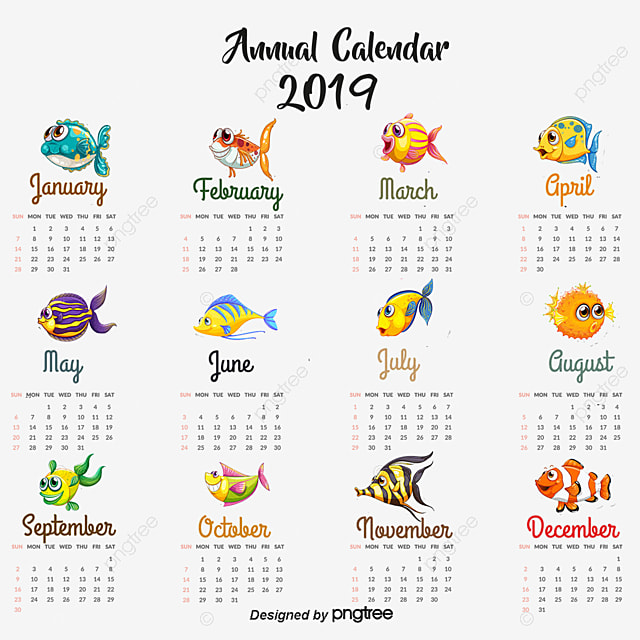 Hand Painted Tropical Fish Calendar Template Vector PNG And