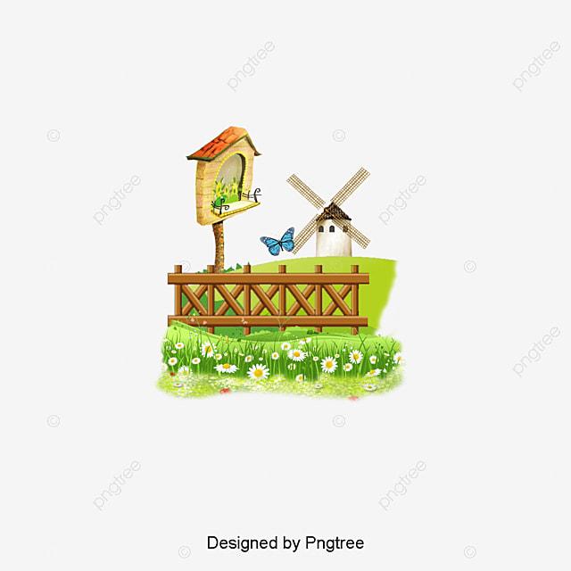 cartoon spring landscape painting belle cl u00f4ture les fleurs fichier png et psd pour le