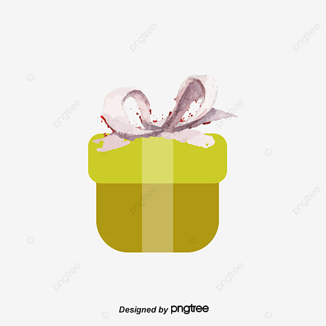 Watercolor Hand Painted Birthday Gift Box Vector Png Watercolor