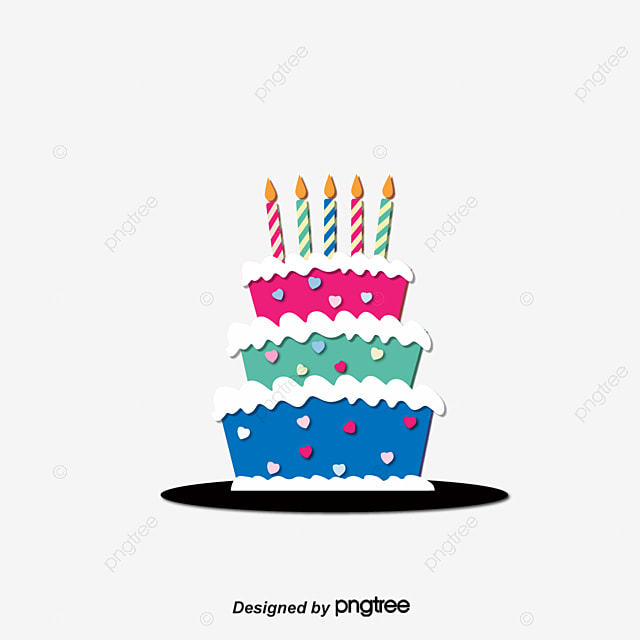 Cartoon Birthday Cake Vector PNG And