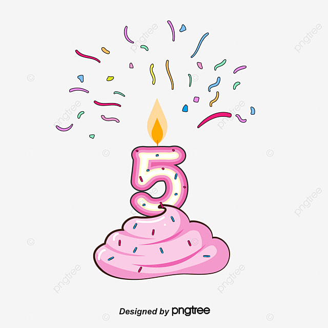 Number 5 Birthday Candles Clipart Vector Png Color Streamer PNG And