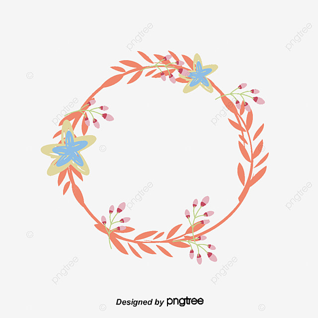Pink Flower Rattan Round Border Flower Vector Round Vector Border