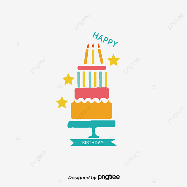 Hand Painted Birthday Cake Clipart Vector Png PNG And
