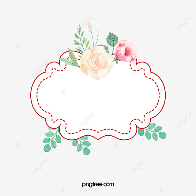 beautiful wedding text label border hand painted flowers
