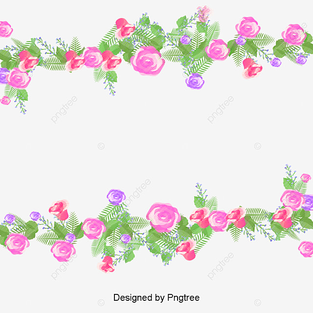 Watercolor Flowers Small Fresh Borders Vector Png Border Free PNG And