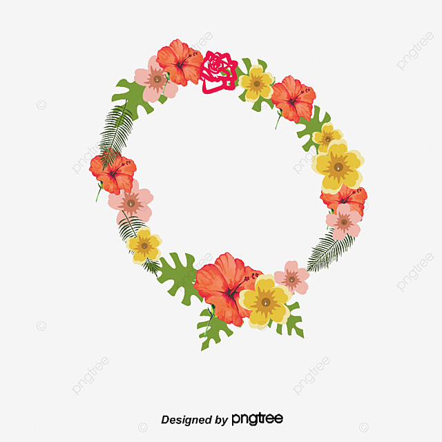 Round Summer Flower Decorative Frame, Round Vector, Summer Vector ...