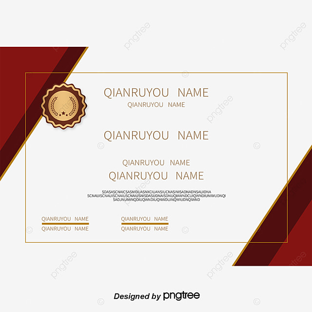 Red Border English Certificate, Certificate Template, Training Certificate,  English Certificate Free PNG And Vector  Free Training Certificate Template
