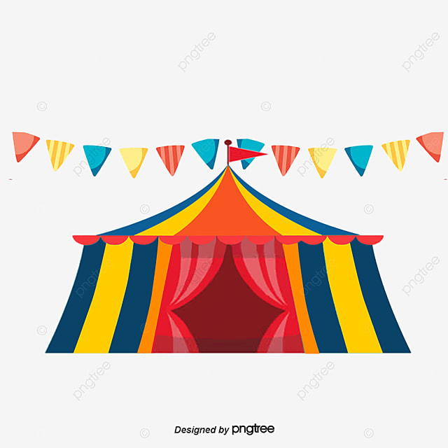 Cute Circus Element Vector Png, Cartoon Tents, Red Tents, Cute Tents PNG And
