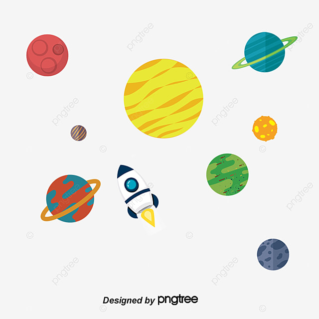 Cute cartoon solar system planet vector material, Cartoon ...