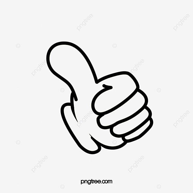 Tilted Thumbs Up Black Finger Motivate Others Cartoon