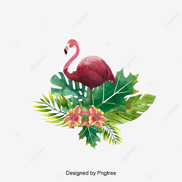 flamant rose peint  u00e0 la main les feuilles flamingo fichier