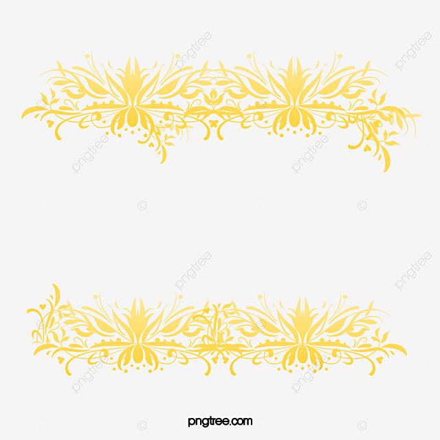 golden flower rattan frame gold flower vine frame png