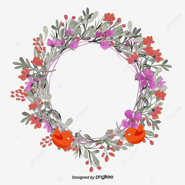 love bird flower rattan wreath text label cartoon hand