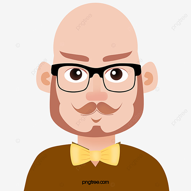 Bald man vector, Glasses, Cartoon, Character PNG and Vector for Free Download