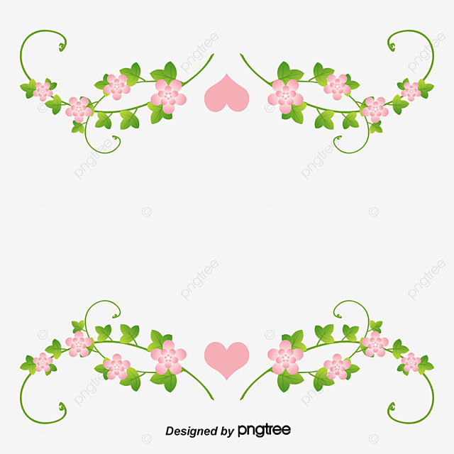 Love Pink Flower Border Vector Png Pink Flowers Love