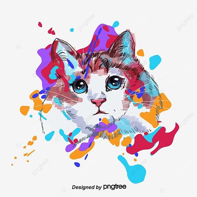 Acuarela cat kitty color acuarela imagen png para for Red transparente para gatos