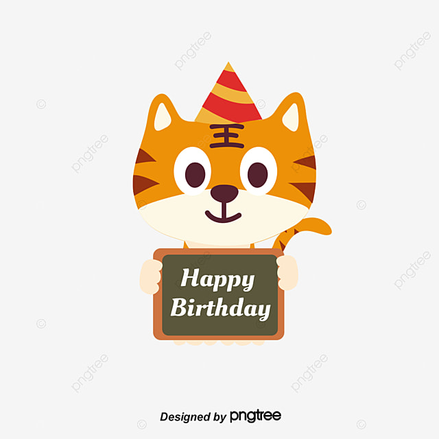 Cute Little Tiger Birthday Card Vector Png Birthday Card Happy