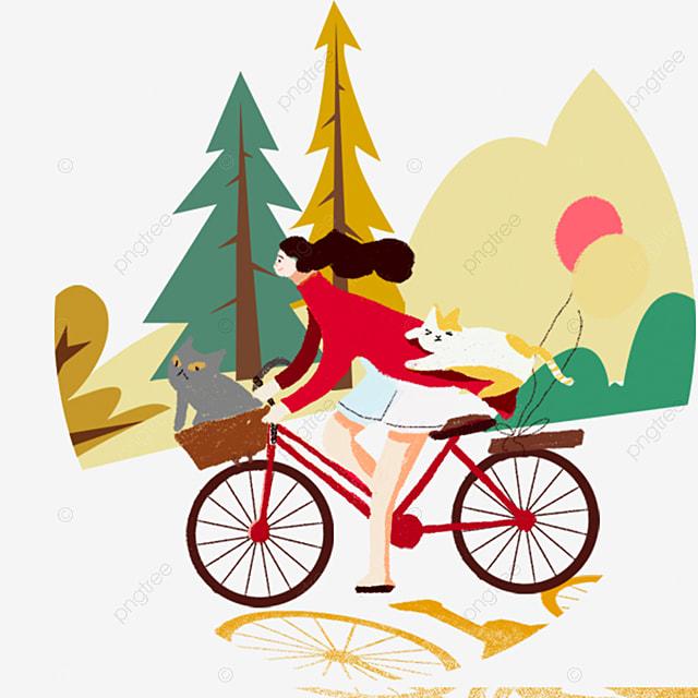 bicicleta de menina menina dos desenhos animados andar de bicicleta