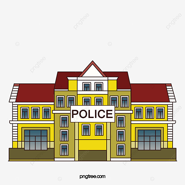 Cartoon flattened police station Icon, Police Office ...