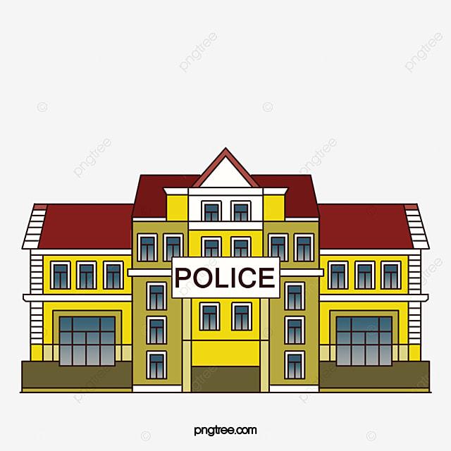 Police station clipart  Cartoon flattened police station Icon, Police Office, Cartoon ...