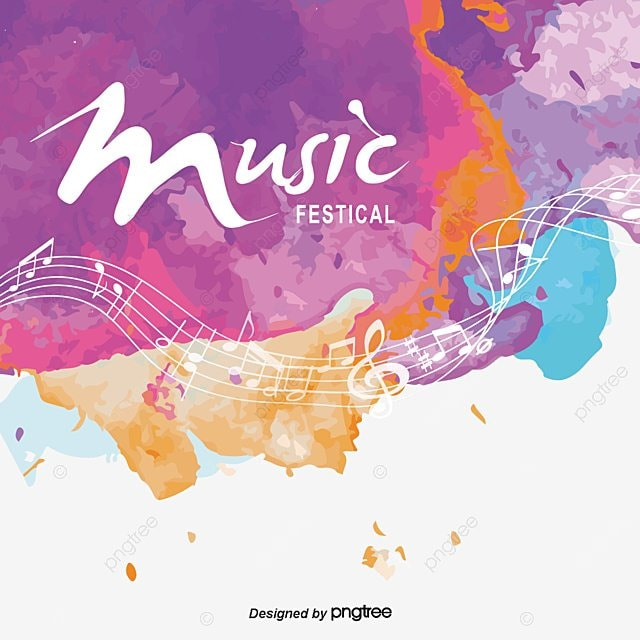 colorful background music festival poster vector png
