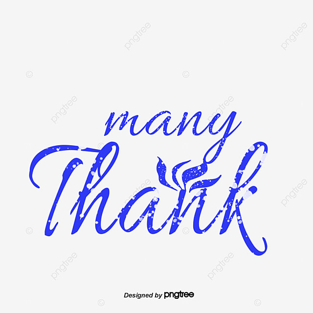 blue handwriting thank you card vector png thank you word art png