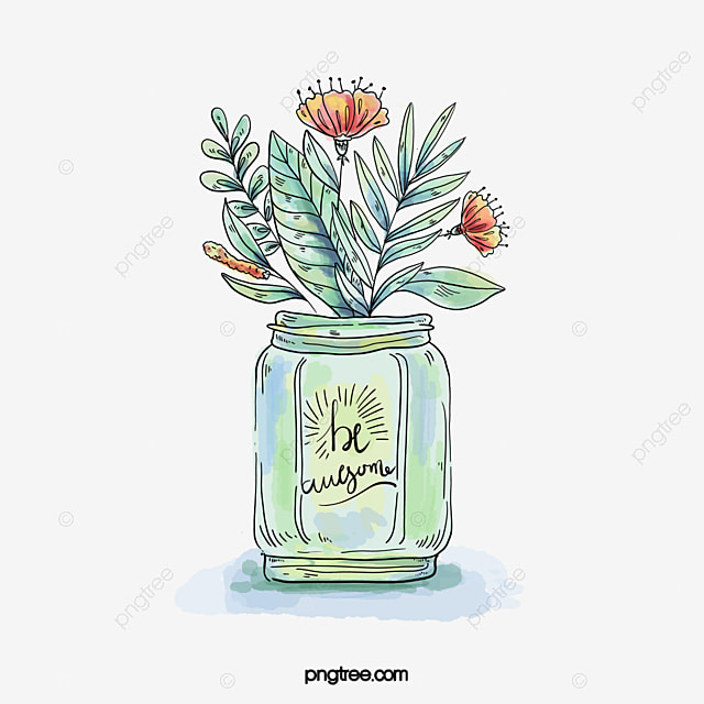 Vector drawings hand painted watercolor vases plants vector vector drawings hand painted watercolor vases plants vector diagram hand drawn ccuart Images