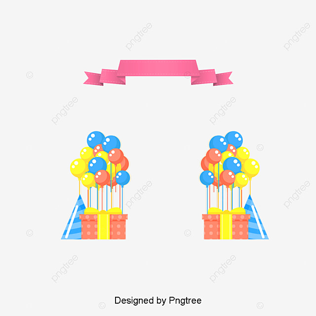 Gift Box Balloon Birthday Frame, Frame Clipart, Vector Png, Birthday ...