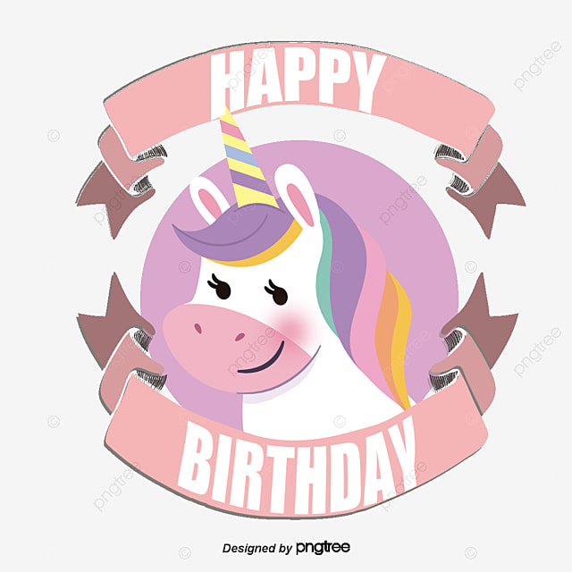Unicorn Birthday Card Clipart Vector Png PNG And