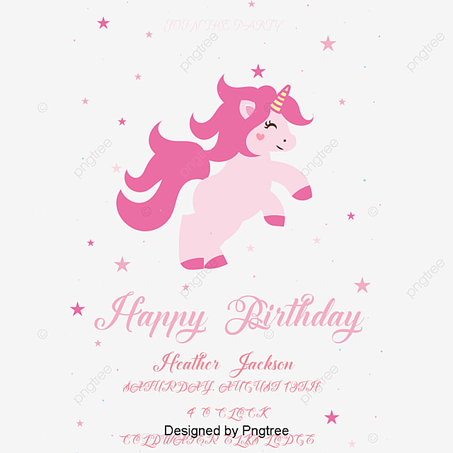 Hand painted color Unicorn birthday decorations, Hand Drawn Animals ...