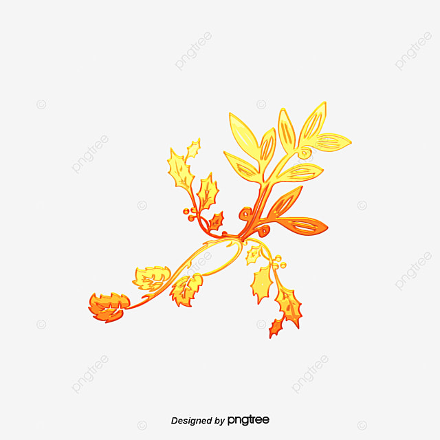 Cartoon Hand Painted Golden Flower Petal Decoration PNG And Vector