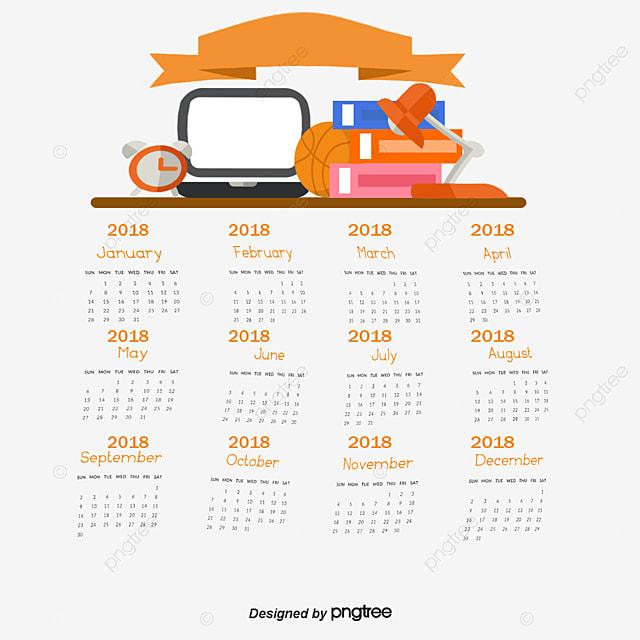 School Desk Calendar Template Vector Png 2018 And