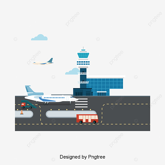 Airport Vector Hand White Plane Lighthouse Png And