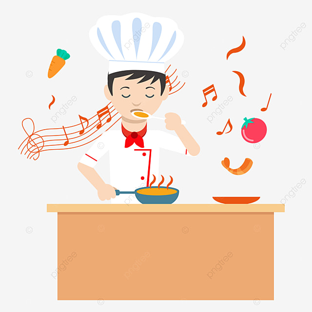 A little cook who is cooking