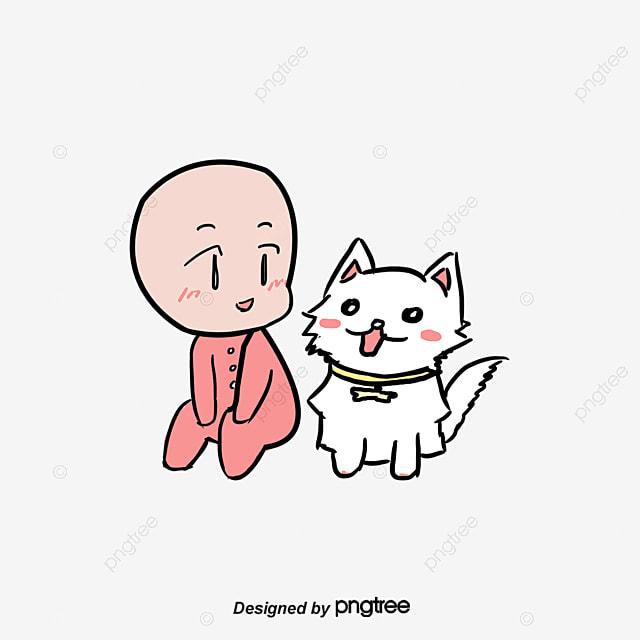 Dibujos Animados De Animales Estudiando: Los Niños Y Los Animales Domesticos Dibujo A Mano De