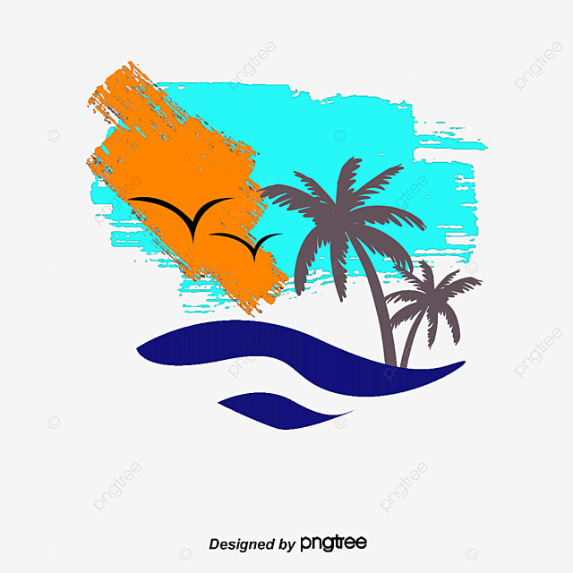 palm beach vector hand watercolor coconut tree png and vector for