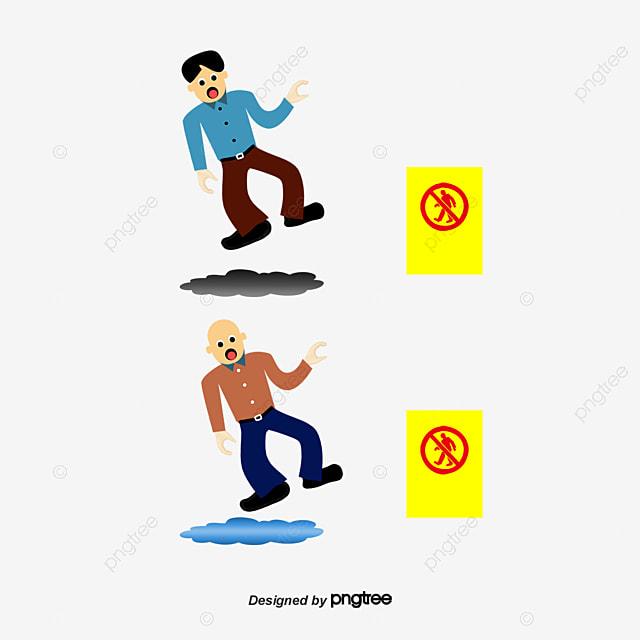 Slipping Cartoon Man Slip Caution Wet Floor Slip Png