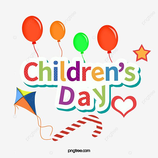 Cartoon sticker style art word, Children's Day, 儿童节logo