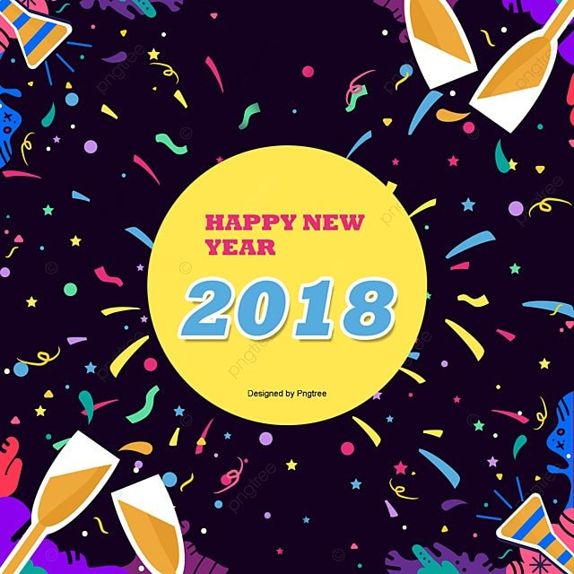 2018 Happy New Year!, Happy New Year, Fireworks, Coloured Ribbon PNG ...