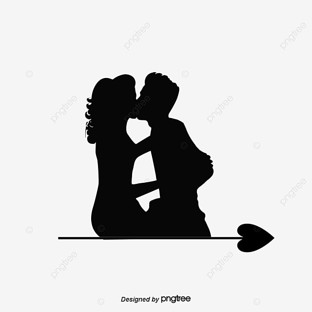 kissing silhouette free png and psd