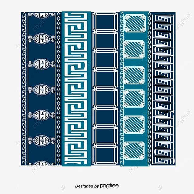 Vector Blue National Handmade Batik Patterns, Vector