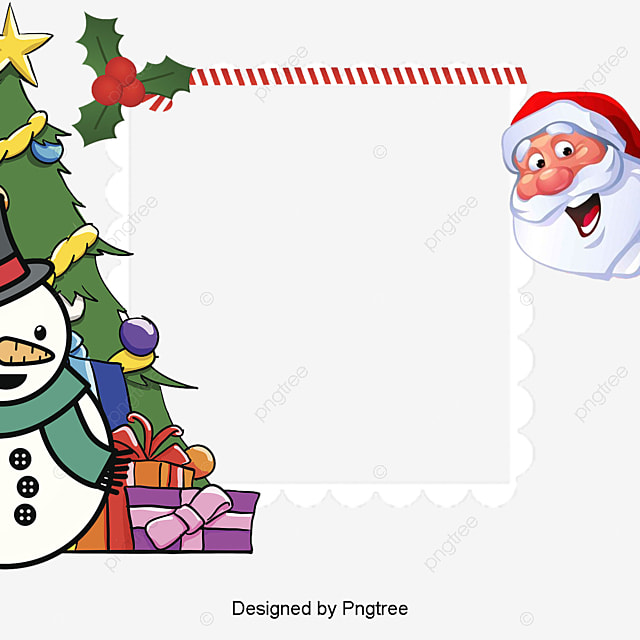 christmas border santa claus snowman christmas png image and clipart