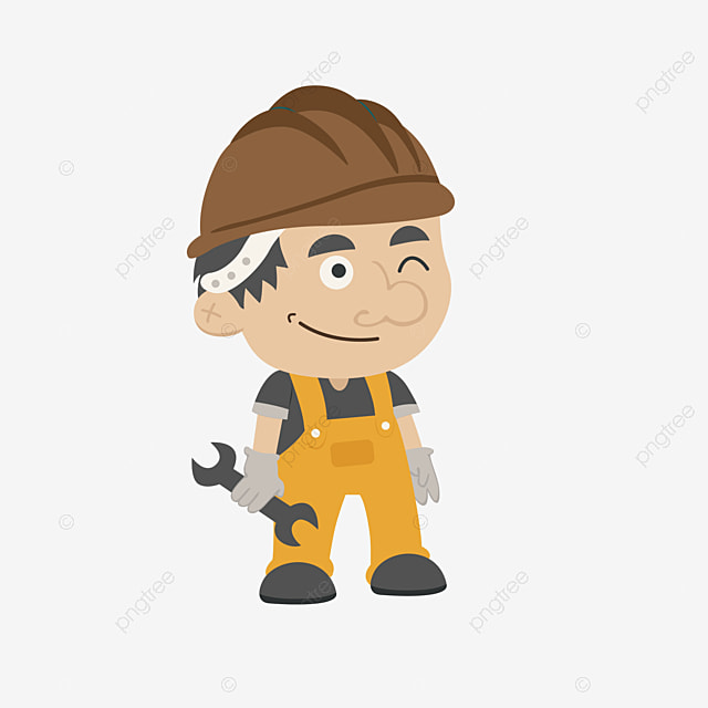 Cartoon Maintenance Worker Cartoon Clipart With Red Hat Hand