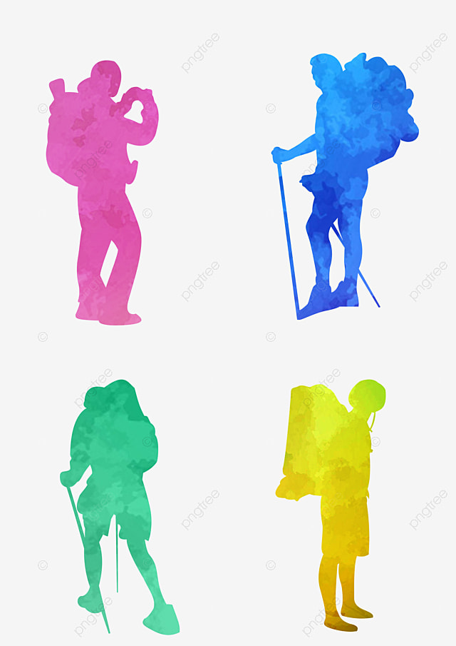 Vector Backpackers Walking Silhouette Knapsack Free PNG Image And Clipart