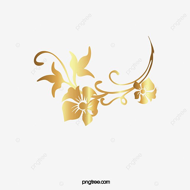 Luxury Golden Flower Luxurious Leaf Cane Vine PNG Image And Clipart
