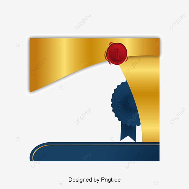 Golden Badge Certificate Vector Png Qualification Certificate