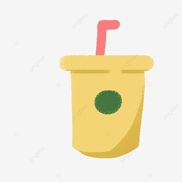 Soft Drink Straw Cup With Cartoon Ilration Clipart