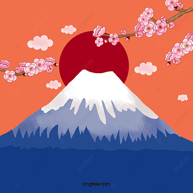 Cartoon Mt Fuji Vector, Blue, Blue, Cartoon PNG and Vector ...