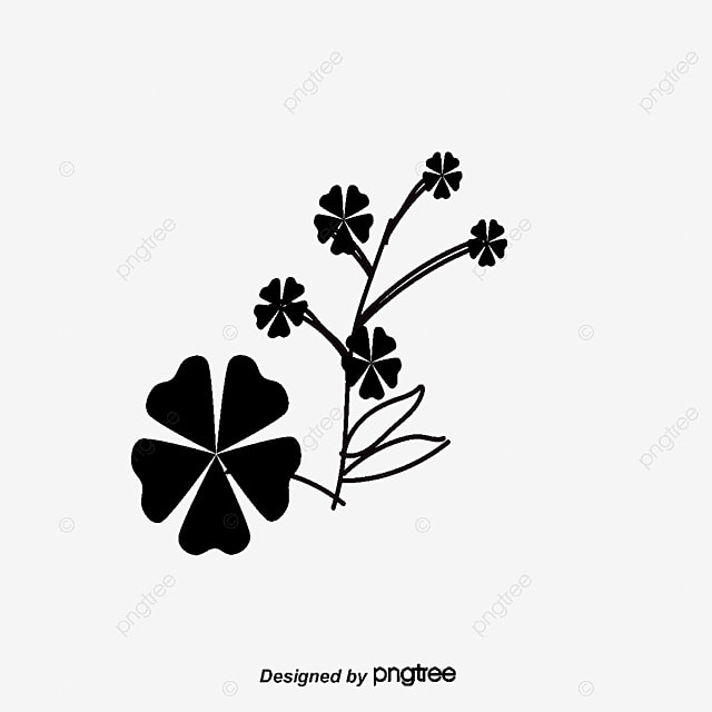 Silhouette Of Black Flowers Flower Hand Drawn Cartoon PNG And Vector