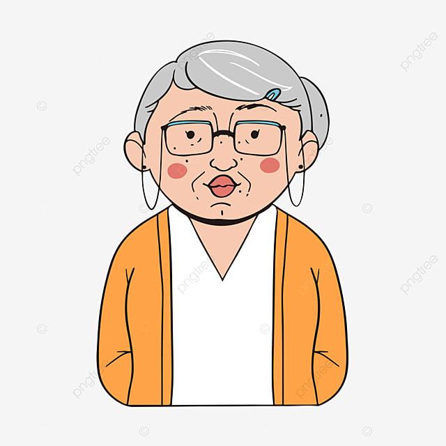 grandma s birthday grandma and grandson filial piety cartoon hand rh pngtree com Cartoon Grandma Cartoon Grandma